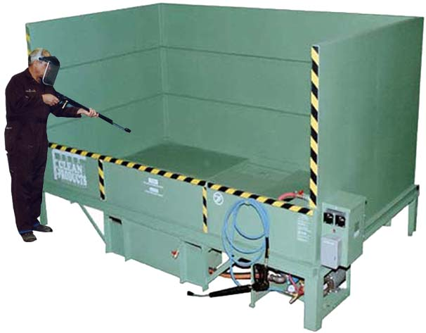 Clean Products pressure wash booth for large wind turbine parts